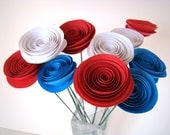 One Dozen Spiral Paper Roses with Stems - Red White and Blue Roses