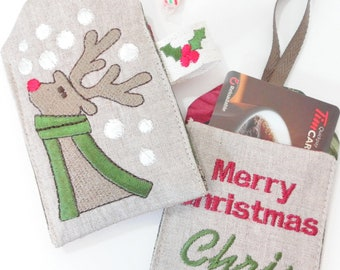 Christmas Mix Machine Embroidery Designs sc063d and Gift Card Holders Sewing Directions in PDF
