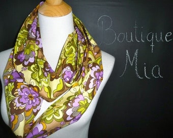 PERFECT GIFT - Infinity SCARF - Purple Flowers - Quilters Cotton - by Boutique Mia