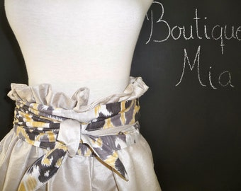 Duiponi Silk Paper Bag SKIRT and reversible SASH - Made in ANY Size - Boutique Mia
