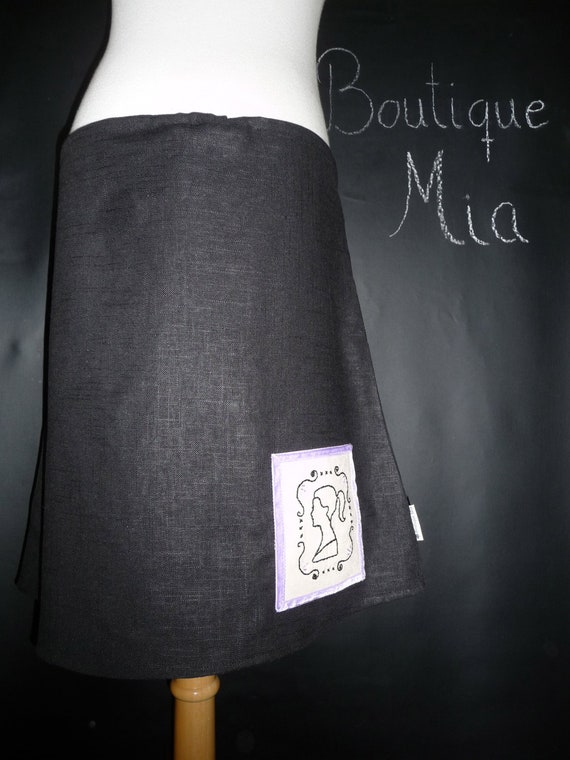 A-line SKIRT - Black Linen Mix - Hand Embroidered Cameo - Made in ANY Size - Boutique Mia