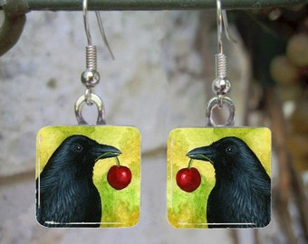 Bird 55 Crow Raven Art Glass Earrings from painting by L.Dumas