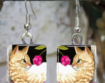 Cat 451 Art Glass Earrings Jewelry from painting by L.Dumas