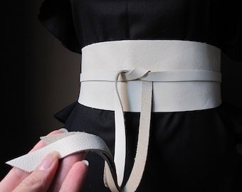 Ivory - Handmade Italian Leather Obi Belt - Made to Order