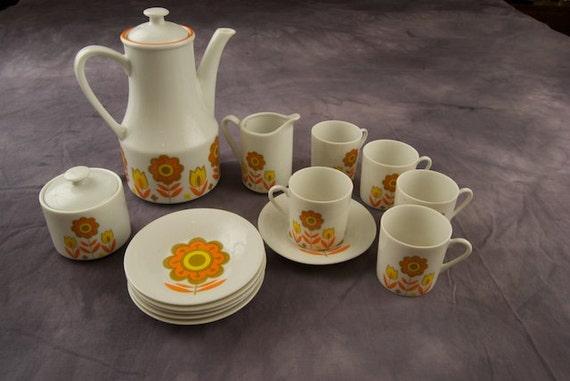 Vintage Japanese Tea Set with Flower Motif