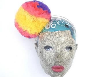 Large Multi Coloured Pom Pom Headband
