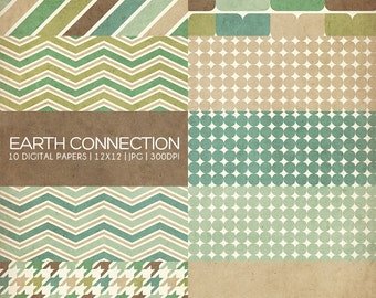 12x12 Digital Paper Collection - Earth Connection - Great for Photographers or Scrapbooking - 10 .JPG files