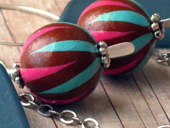 Neon Pink Earrings Funky Retro 80's Grey Gray Maroon Red Hot Pink Chevron Silver Hoop Dangles