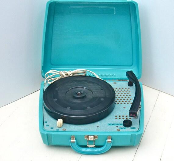 Vintage Truetone Portable Aqua Blue Phonograph Record Player - Retro Music