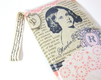 Samsung galaxy note zipper pouch (also for passport)-  laminated shabby lace collage