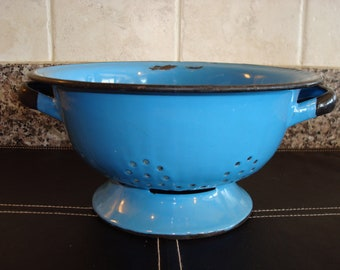 Vintage blue enamelware strainer with black trim and handles- Poland