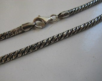 3mm Rope Chain Sterling Silver Lightly Oxidized with Lobster Clasp, 26 inch Necklace