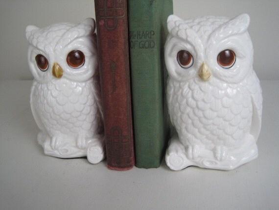 Vintage Napcoware White Owl Bookends