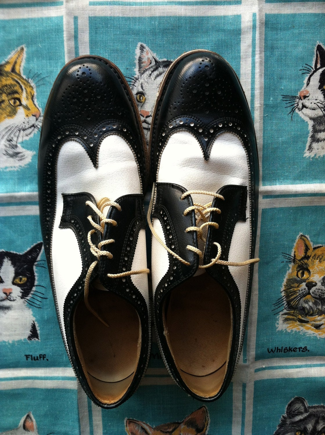 60's 70's men's black and white vinyl wingtip