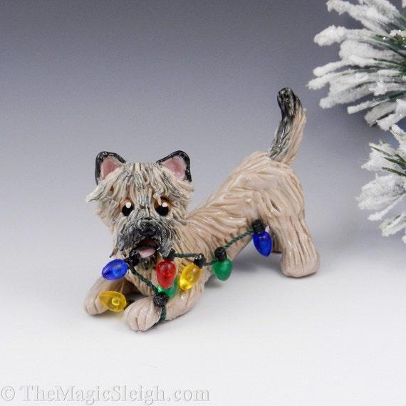 Cairn Terrier Ornament Wheaten Christmas lights Porcelain