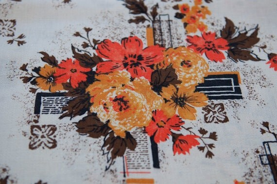 Mod Roses in Oranges and Golds - Vintage Fabric 60s 70s Cottage Barkcloth New Old Stock (reserved)