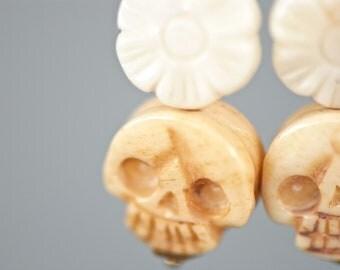 Bella Muerte earrings - Dia De Los Muertos Carved Ivory Coral Flowers Ox Bone Skulls - Gold Plated Brass