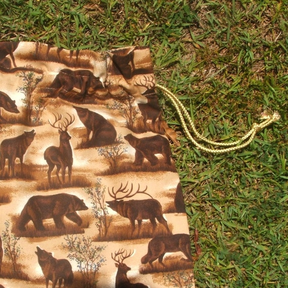 Drawstring bag woodland animals brown cotton for library toys sheets storage
