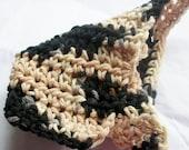 Black n Natural Washcloth, Crocheted Cotton