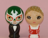 Custom Wedding Cake Toppers Hand Painted on Wooden Kokeshi Dolls with Luchador Mask and Dirndl