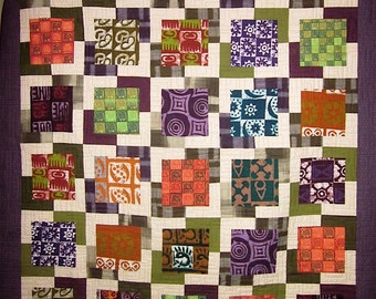 Patchwork Quilt - purple, orange and green Great African Frame Up