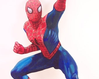 Hand painted acrylics on wood hand painted spider man spiderman
