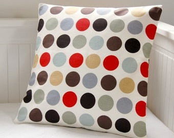 red grey brown dots cushion cover, spots decorative pillow cover 16 inch