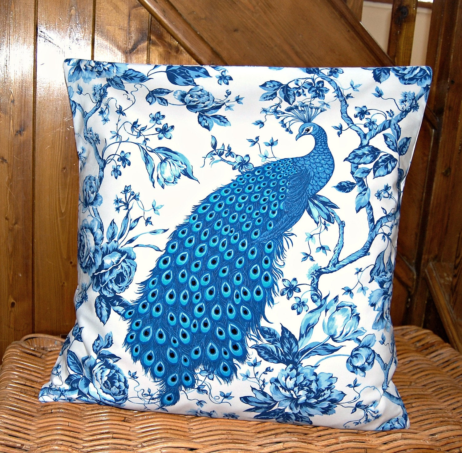 peacock roses decorative pillow cover blue and white cushion