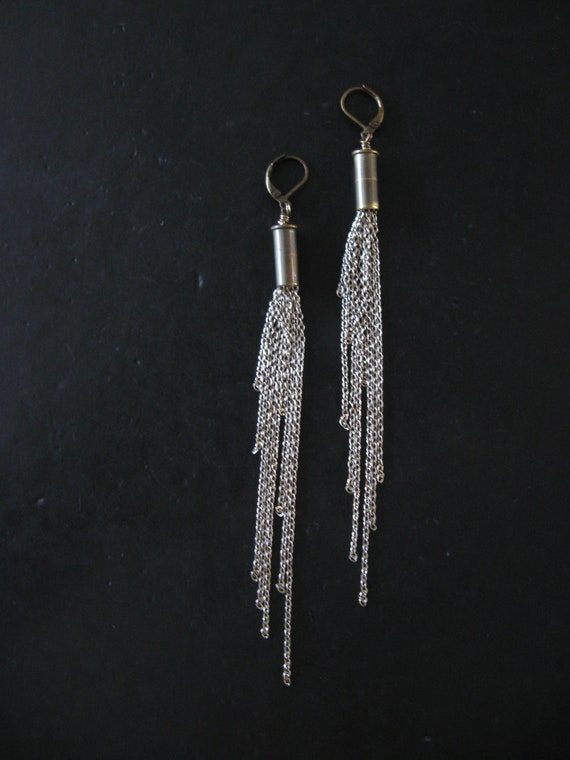 SALE - Cosmic - Silver - Recycled Bullet Chain Fringe Earrings