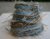 Elegant natural bird nest and twigs specialty yarn fiber embellishment bundle