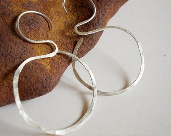 Rustic organic sterling silver hoop earrings Eco silver jewelry handmade artisan jewelry unique natural
