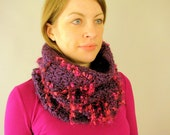Crocheted Radiant Orchid Purple Big Chunky Thick Knit Cowl Scarf - Grape Fizz Loop Scarf for Women