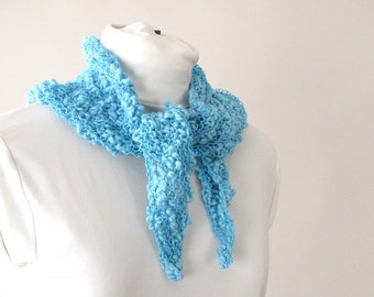 Handknit Cotton Lace Aqua Triangle Scarf - Spring or Summer Fashion Accent Scarf for Female Adult