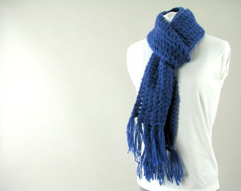 Hand Knit Textured Navy Blue Fringed Scarf for Adult Man or Woman