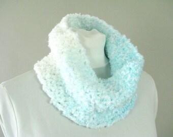 Aqua Ombre Crochet Circle Cowl Scarf - Neck Warmer for Woman