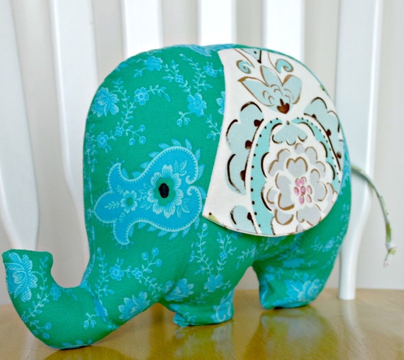 Stuffed Elephant Softie Toy Baby Toddler Gift Plush Animal Teal Blue Designer Prints