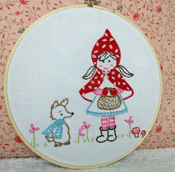 Hoop Art Little Red Riding Hood Hand Embroidery Child's Room Decor Friendly Wolf