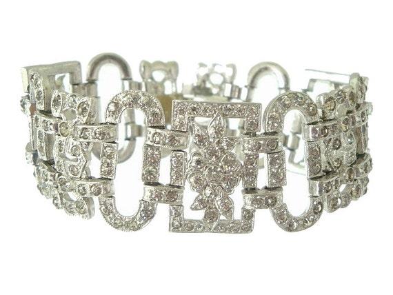 Art Deco Bracelet Wide Vintage Rhinestone Original Book Piece 1920s Wedding Jewelry