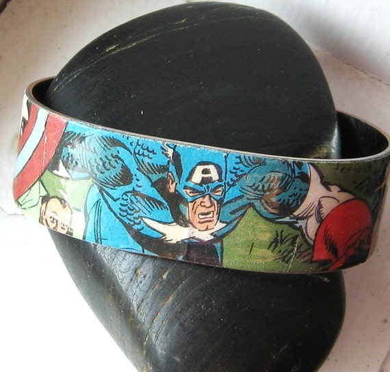 CAPTAIN AMERICA Vintage Upcycled Comic Book Metal Cuff Bracelet Marvel Comics The Avengers