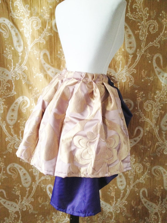 Mini Tie On Damask Floral Bustle Skirt-One Size Fits All