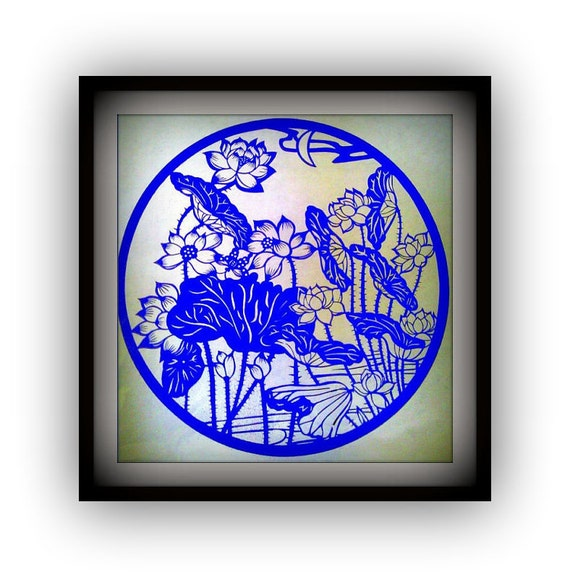 Handmade papercut - lotus flowers  - Best gift or house decdor in blue