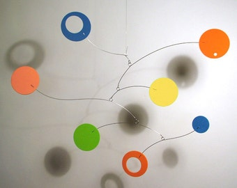 Modern Hanging Art Mobile for Baby Nursery Lil'Softy Foam Circle Abstract Retro Decor Calder style Kinetic Home Decor