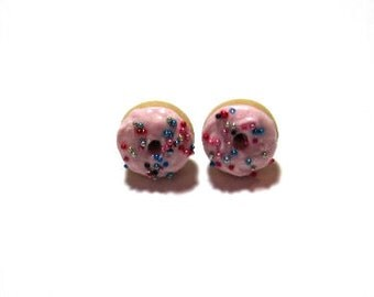Pink Donut Studs Earrings-Surgical Steel