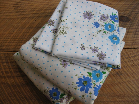 Vintage Sheet Set Aqua Blue Purple Full Double Size