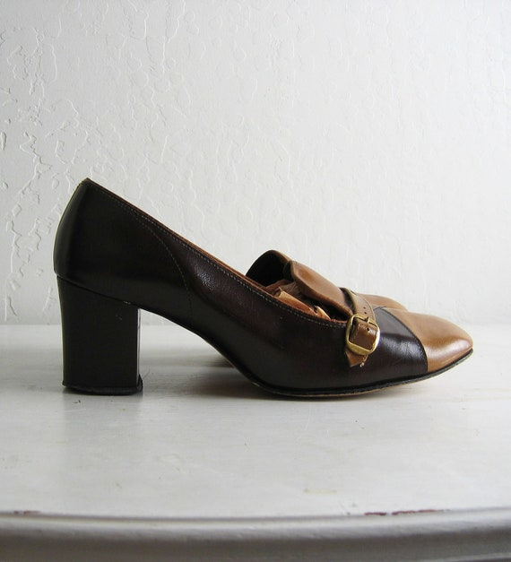 s a l e // brown leather COLOR BLOCK heels, 7.5 - 8