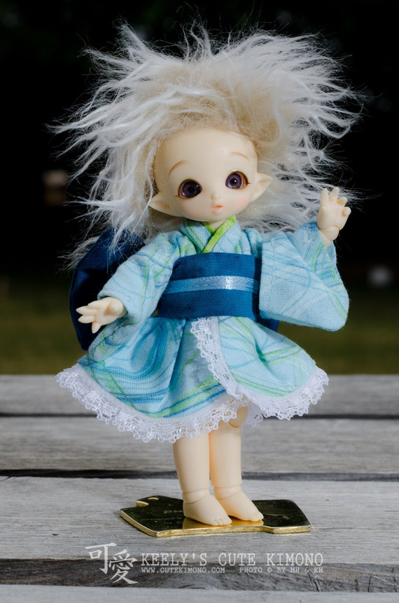 Aqua Blue Wa-Loli Kimono for Fairyland Puki Puki or Lati White