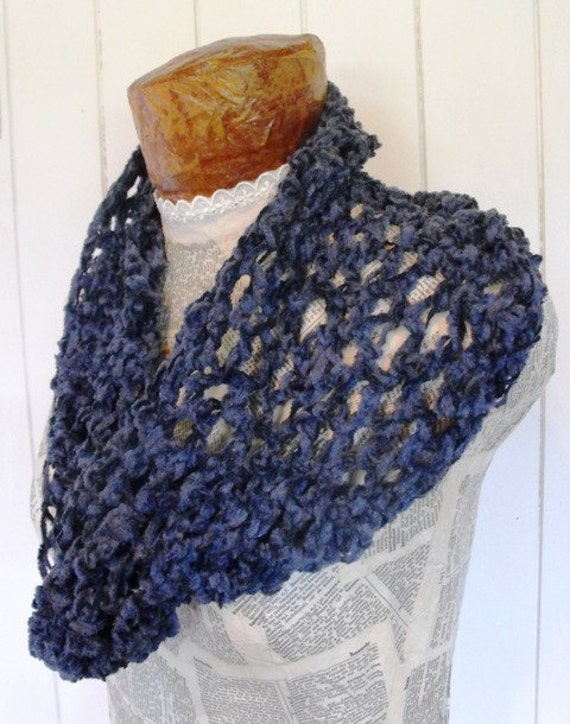Crochet  Scarf Blue Cowl Neck Warmer Fashion Accessory for Women On Sale