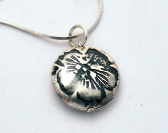 Small Sterling Silver flower Capsule Pendant