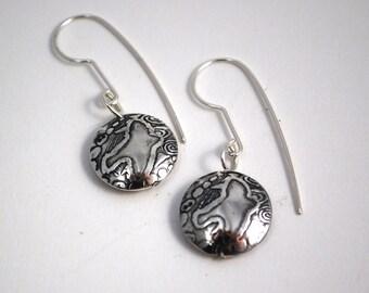 Silver bird on the wing drop earrings