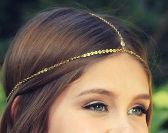 CHAIN HEADPIECE- head chain headdress boho chic head piece / head chain / headband